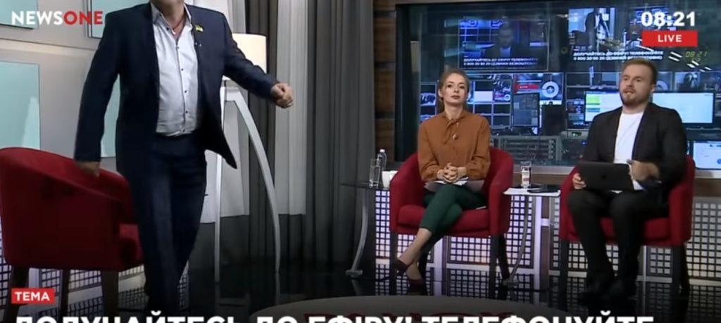 В ранковому шоу NEWSONE нардеп довів до істерики журналістів каналу, які обговорювали побиття колеги (ВІДЕО)